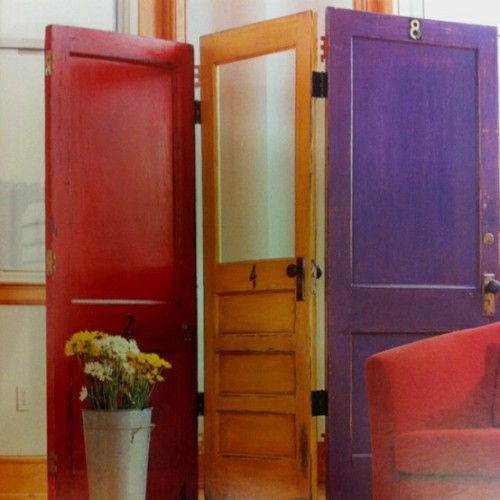 truebluemeandyou:  DIY Door Room Divider. No tutorial but you can use recycled doors from a salvage yard and piano hinges (hinges that bend both ways) to connect the doors. I normally don't post Pinterest as a source, but I can't find this photo anywhere else. Uploaded to Pinterest by Jessica Canale here.