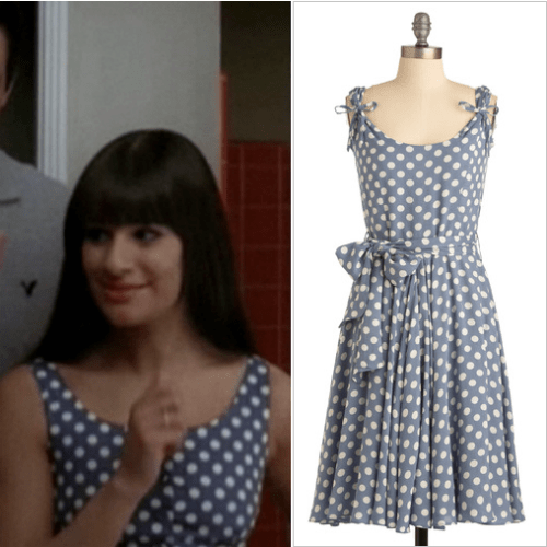 "Not an exact match, but a great alternative to the spotted dress Rachel is seen wearing in promos for ""Choke"".<br /> Modcloth Spot Your Partner Dress - $124.99"