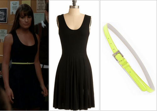Modcloth Days of Chic Dress - $39.99<br /> US Trendy Neon Skinny Belt - $15.00