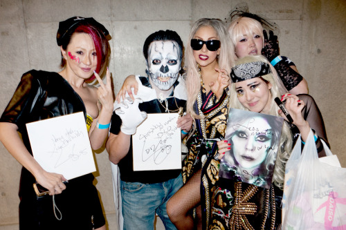 Gaga with monster pit little monsters after the show.