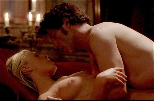 One of my most favorite scenes is Sookie and Bill's first time makin hot passionate sex in front of the fireplace. The song Love Theme playing in the background fit the scene perfectly. It was so sensual and the camera angles were superb. I couldn't have imagined it any better. Of course it doesn't hurt that both actors have a real relationship off camera. I must admit I've watched this scene more times than any other. *grins*