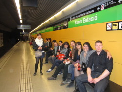 Waiting for our Metro train to La Rambla