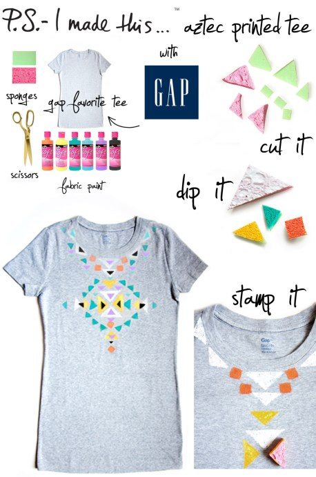 "There's nothing more expressive than music and fashion…and when the two collide, inspiration and excitement thrive.  If you're lucky enough to attend this weekend's Bonnaroo Music Festival in Manchester, Tennessee, swing by Gap's late-night ""Be Bright At Night"" event to get crafty and personalize tees. Grab bold paints, patterns, stencils and more to discover why T-I-Y is the new D-I-Y!Whether you're attending a music fest or rockin' out to your own playlist at home, get into the Summer DIY spirit by grabbing a Gap Favorite Tee and create an Aztec print inspired look. Cut up kitchen sponges in various sized triangles, dip into fabric paint and stamp your heart out. P.S.- plan out your pattern before you start on a piece of paper or fabric scrap.  Let dry completely, and then you're ready to live by the words of The Beach Boys…""T-Shirts, cut-offs and a pair of thongs - we've been having fun all Summer long""."
