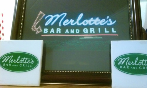 Merlotte's sign & coasters