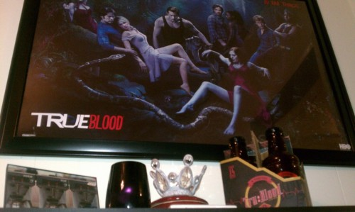 My shrine complete w/ True Blood poster