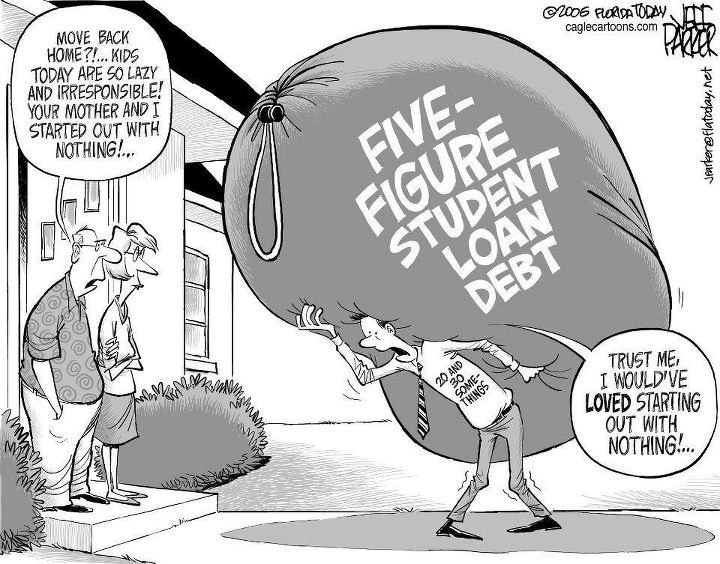 Cartoon about large student debt