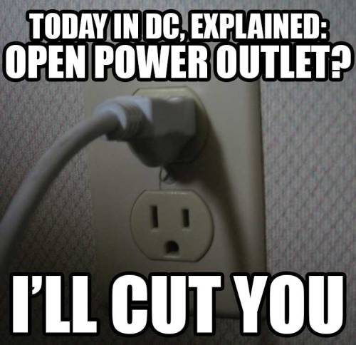Let's be honest with ourselves, residents of DC:We're kind of jerks to one another when the power's out in our homes and we have to go to coffee shops just to charge our laptops and cell phones. (It's understandable, just sort of weirdly cutthroat.) I've personally seen this dynamic at half a dozen places today, including a Barnes & Noble full of people laying on the floor trying to keep their laptops charged while their power was out. It doesn't have to be like this though. Want to make friends today? Bring a power strip with you to Panera. (photo by edkohler)— Ernie @ SFB