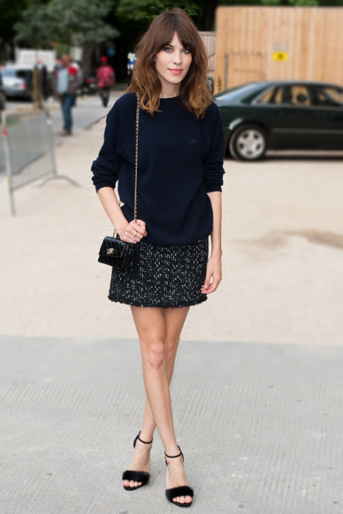 chung-alexa:Look of the day: Alexa Chung in the forefront of the procession Chanel haute couture