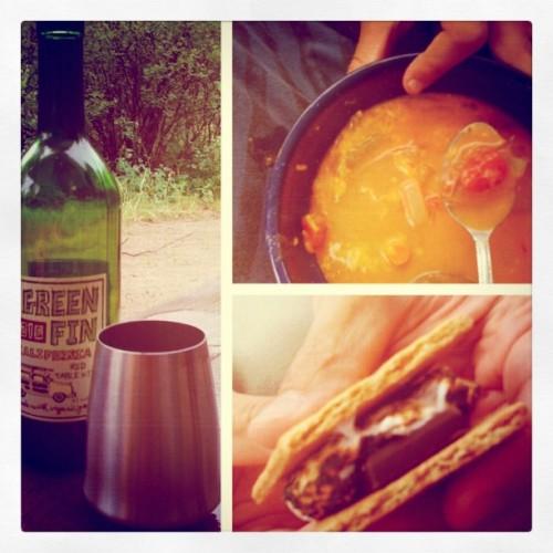 camping menus, potato soup, s'mores