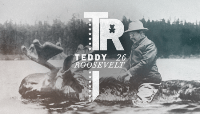 "Twenty Sixth President: Theodore (Teddy) Roosevelt (1901-1909)<br /> Typefaces: Didot &amp; DIN</p> <p>There are a couple variations of the story of the teddy bear, here is one:""Theodore (Teddy) Roosevelt, the 26th president of the United States, is the person responsible for giving the teddy bear his name. On November 14, 1902, Roosevelt was helping settle a border dispute between Mississippi and Louisiana. During his spare time he attended a bear hunt in Mississippi. During the hunt, Roosevelt came upon a wounded young bear and ordered the mercy killing of the animal. The Washington Post ran a editorial cartoon created by the political cartoonist Clifford K. Berryman that illustrated the event. The cartoon was called ""Drawing the Line in Mississippi"" and depicted both state line dispute and the bear hunt. At first Berryman drew the bear as a fierce animal, the bear had just killed a hunting dog. Later, Berryman redrew the bear to make it a cuddly cub. The cartoon and the story it told became popular and within a year, the cartoon bear became a toy for children called the teddy bear.""<br /> -http://inventors.about.com</p> <p>And yes, this photo is real. It had appeared in LIFE magazine and can be seen here: http://www.history.com/photos/teddy-roosevelt/photo11<br />"