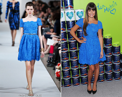 Lea Michele unveils the Vaspar Hands for Habitat, New York City, July 20, 2012 Lea dropped into New York earlier today for a charity event, showing off her pins in a cute Oscar De La Renta lace dress. This look is an easy winner for us! The color is divine, and the cut of the dress is fresh and youthful, without feeling too little-girly. Minimal makeup, sleek hair, and Versace pumps completed the look. Oscar De La Renta Resort 2012 Rosette Lace Dress