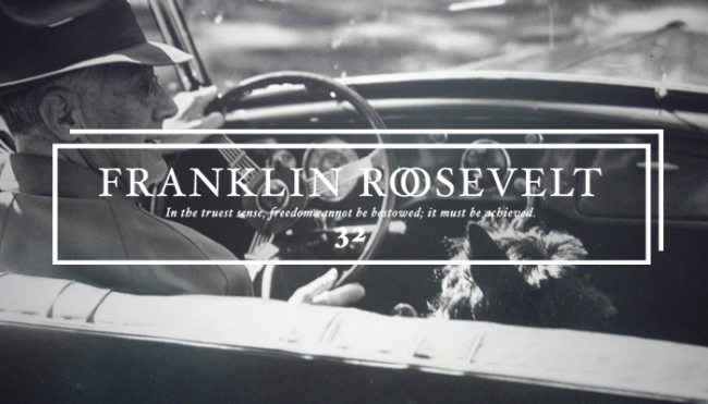 """Thirty-Second President: Franklin Roosevelt (1933-1945)<br /> This picture shows """"FDR and Fala, out for a ride"""".</p> <p>Fala was a famous Scottish Terrier, the beloved dog of U.S. President Franklin D. Roosevelt. One of the most famous presidential pets, Fala captured the attention of the public in the United States and followed Roosevelt everywhere, becoming part of Roosevelt's public image. His White House antics were widely covered in the media and often referenced both by Roosevelt and his wife, Eleanor Roosevelt. Fala survived Roosevelt by seven years and was buried alongside him. A statue of him alongside Roosevelt is prominently featured in Washington, D.C.'s Franklin Delano Roosevelt Memorial, the only presidential pet so honored.<br />"""