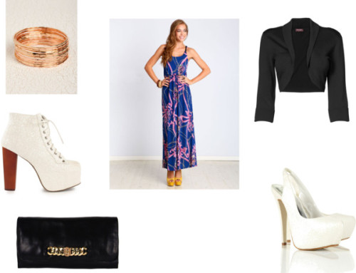 Colorful Maxi w/ Gold and White by thehautebunny featuring a printed maxi dressPrinted maxi dress / Phase eight, $77 / Jeffrey Campbell  heels, $275 / Closed toe sandals / Marc by Marc Jacobs clutch handbag, $370 / Bangle jewelry