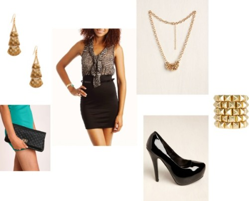 Animal Top w/ Black and Gold by thehautebunny featuring stiletto heelsFitted dress / Stiletto heels / Fold over clutch / ASOS studded jewelry, $23 / Chain ring / Teardrop earrings