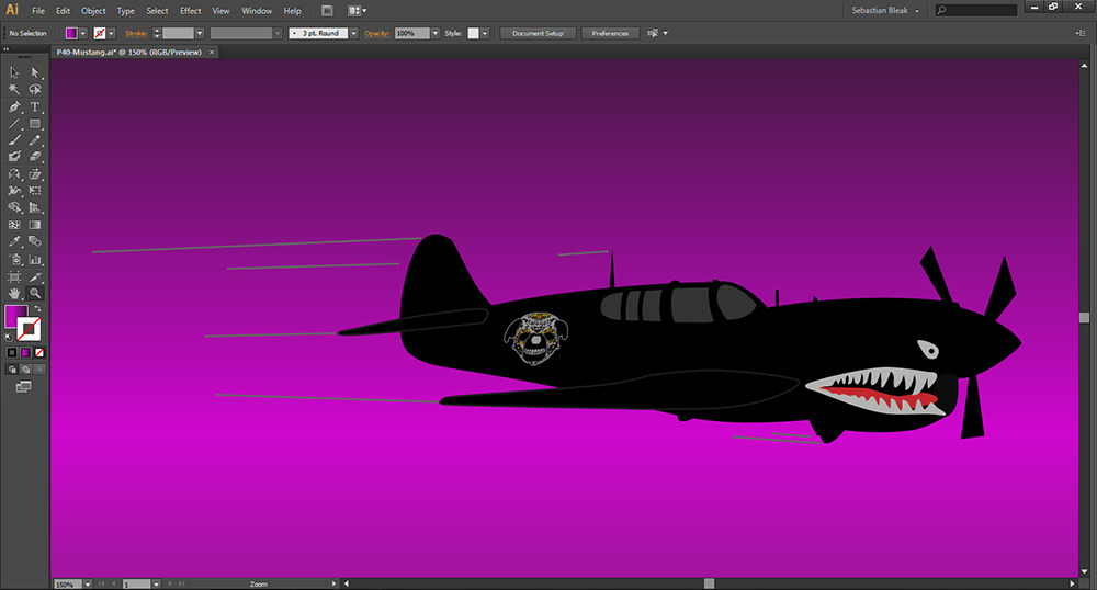 P40 Mustang done in Adobe Illustrator CS6