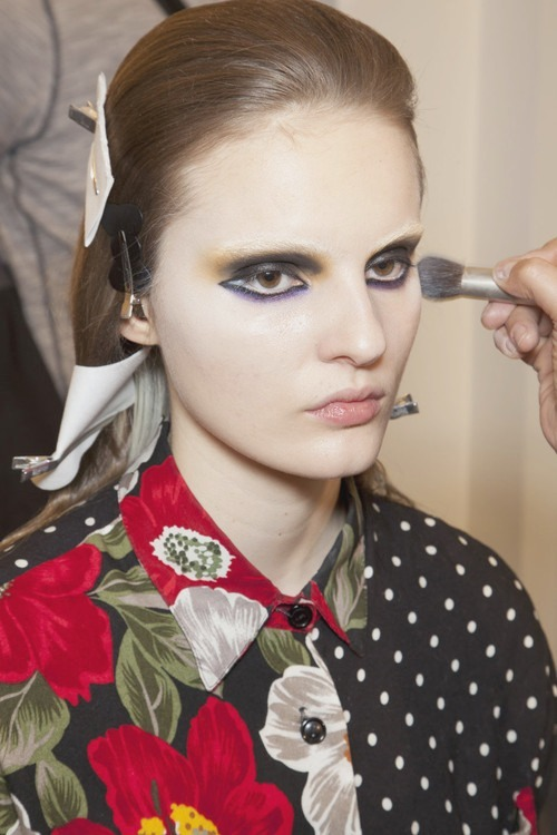 Backstage at Prada Fall 2012