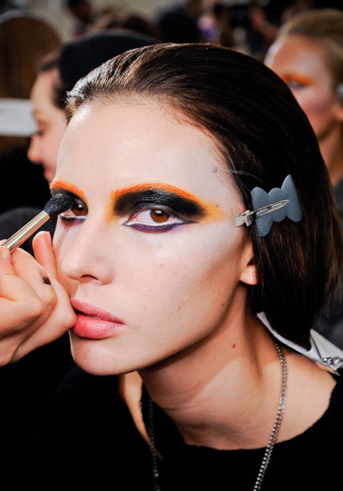 Ruby Aldridge backstage at Prada, Fall 2012.
