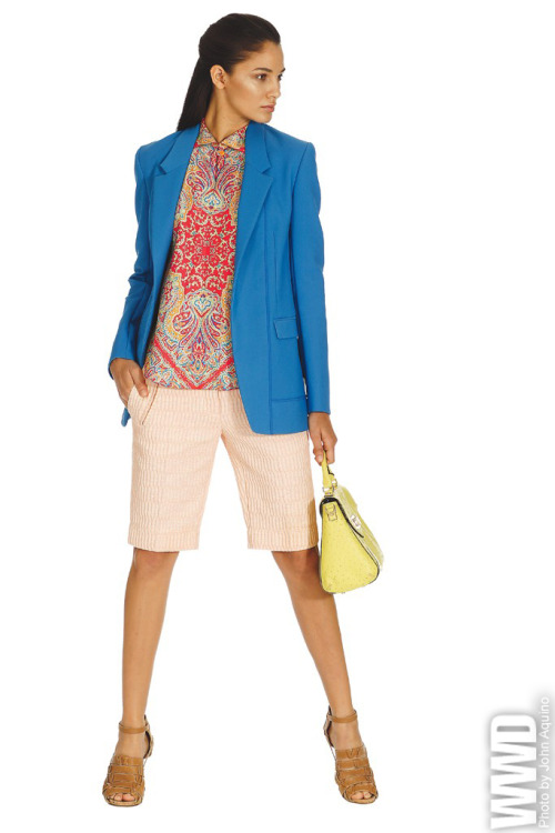 Resort 2013 Trend: The Longer Short of It<br /><br /> Carven's cotton jacquard denim shorts and silk shantung shirt with Reed Krakoff's cotton and nylon jacket. Kate Spade bag.