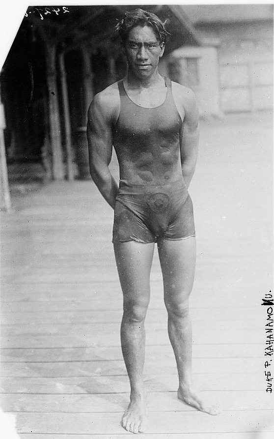 Duke Kahanamoku, age 22, won the gold in 100m freestyle at the 1912 Olympics in Stockholm. During subsequent Olympics, he would win gold for the freestyle and the relay, and was a member of the men's water polo team. Oh yes, this Hawaiian native also popularized surfing. Submitted by Zach
