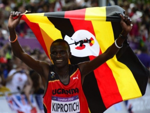 Stephen Kiprotich with Ugandan flag