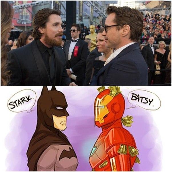 Robert Downey Jr Christian Bale Stark Batsy image