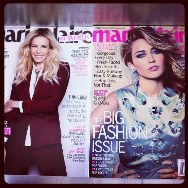 My current reading material at the airport :) @mileycyrus looks stunning on @marieclaire (Taken with Instagram)