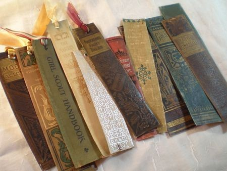 Bookmarks made from old book spines.