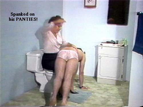 Man spanked in panties