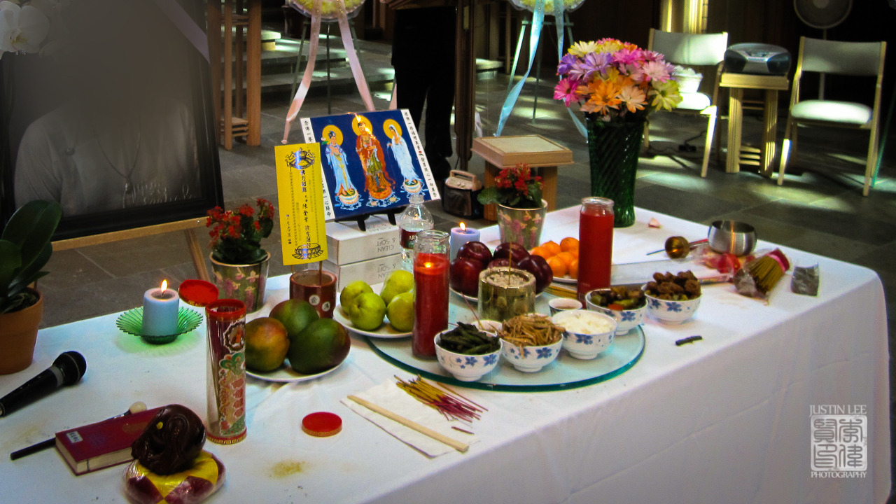 Table of offerings at a Chinese Buddhist funeral