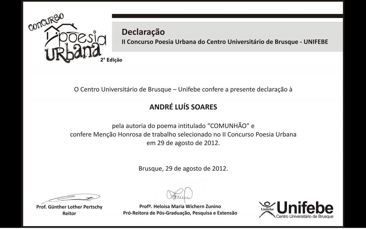 II Concurso Poesia Urbana.
