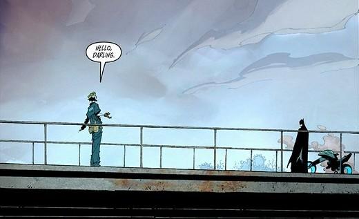 Batman #14 Greg Capullo Scott Snyder New 52 Joker and Batman on the bridge - Hello, darling