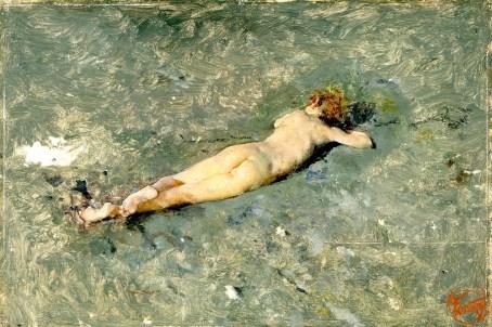 """""""Nu na praia de Portici"""", de Mariano Fortuny. Óleo sobre tela. I874. Madrid, Museu do Prado."""