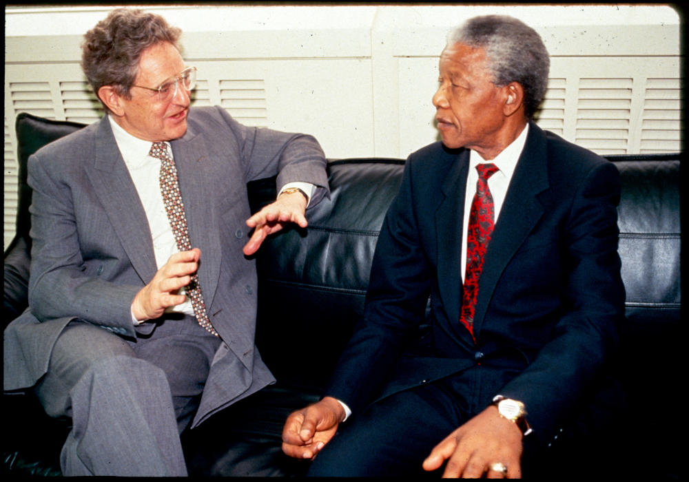 1999 George Soros in South Africa with Nelson Mandela OSF-SA 25 years in South Africa