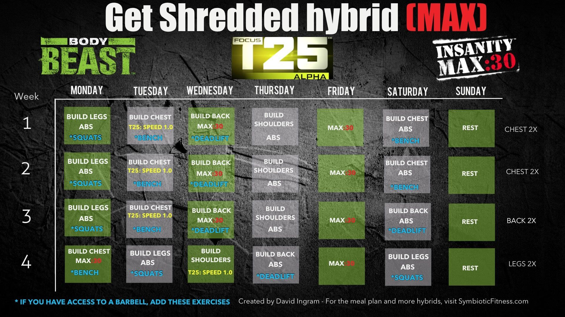 P90x3 Insanity Max 30 Hybrid Workout Schedule