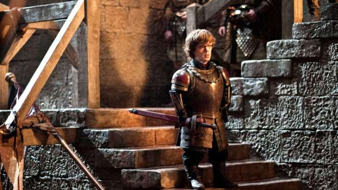 Tyrion Lannister (Peter Dinklage) rallies the troops to defend King