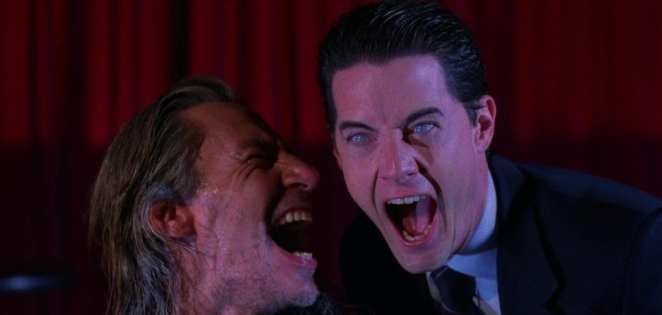 Bob and coopers doppelganger laughing in the black lodge