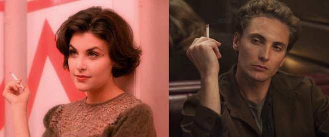 Audrey Horne and Richard Horne both smoking
