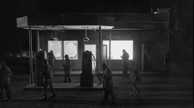 the woodsmen gather outside the convenience store