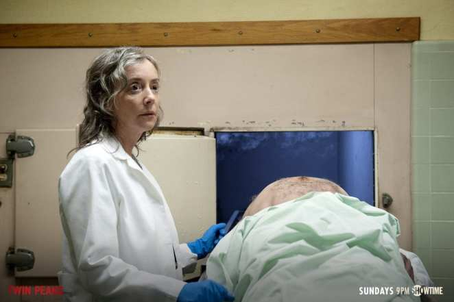 Constance Talbot with Major Briggs headless corpse in the mortuary
