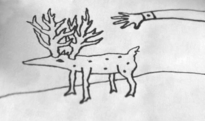 Gordon draws a strange reindeer hybrid creature with an arm