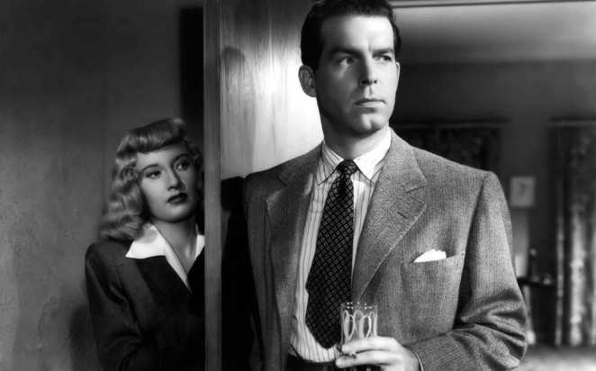 Phyllis Dietrichson (Barbara Stanwyck) and Walter Neff (Fred MacMurray) in Wilder's <em>Double Indemnity</em> (1943).