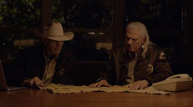 Hawk shows Frank Truman the map and what the images mean