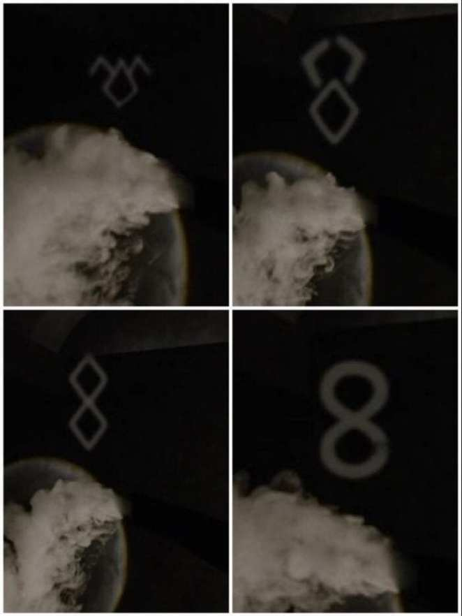 Smoke from Jeffries morphs from the shape of the owl, to a bunny, then 2 diamonds then a figure 8 or infinity