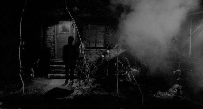 Mary's House in Eraserhead with smoke billowing outside