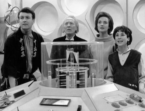 Hartnell as the Doctor with his team in the Tardis