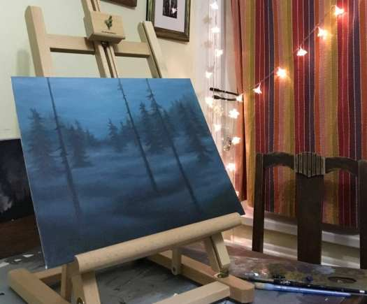 Forest scene in progress - Copyright Jess Purser