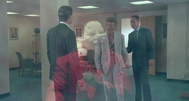 Jeffries enters the philadelphia offices and Cooper and Albert talk to him, the jumping man is superimposed over the scene