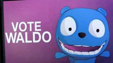 """Waldo appears on a poster that says """"Vote Waldo"""""""