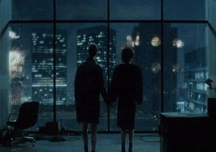 The city burns at the end of Fight Club