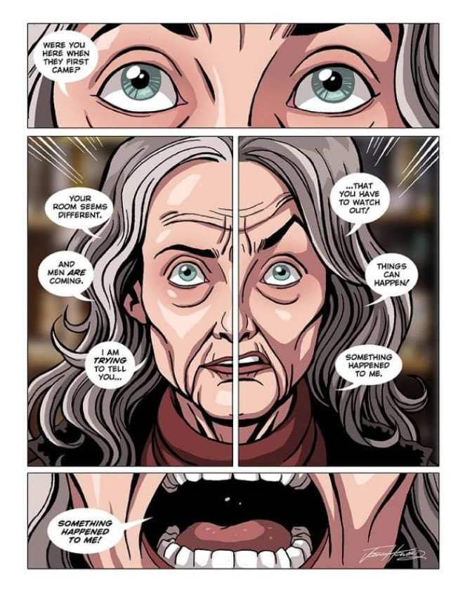 Comic book panel of Sarah Palmer